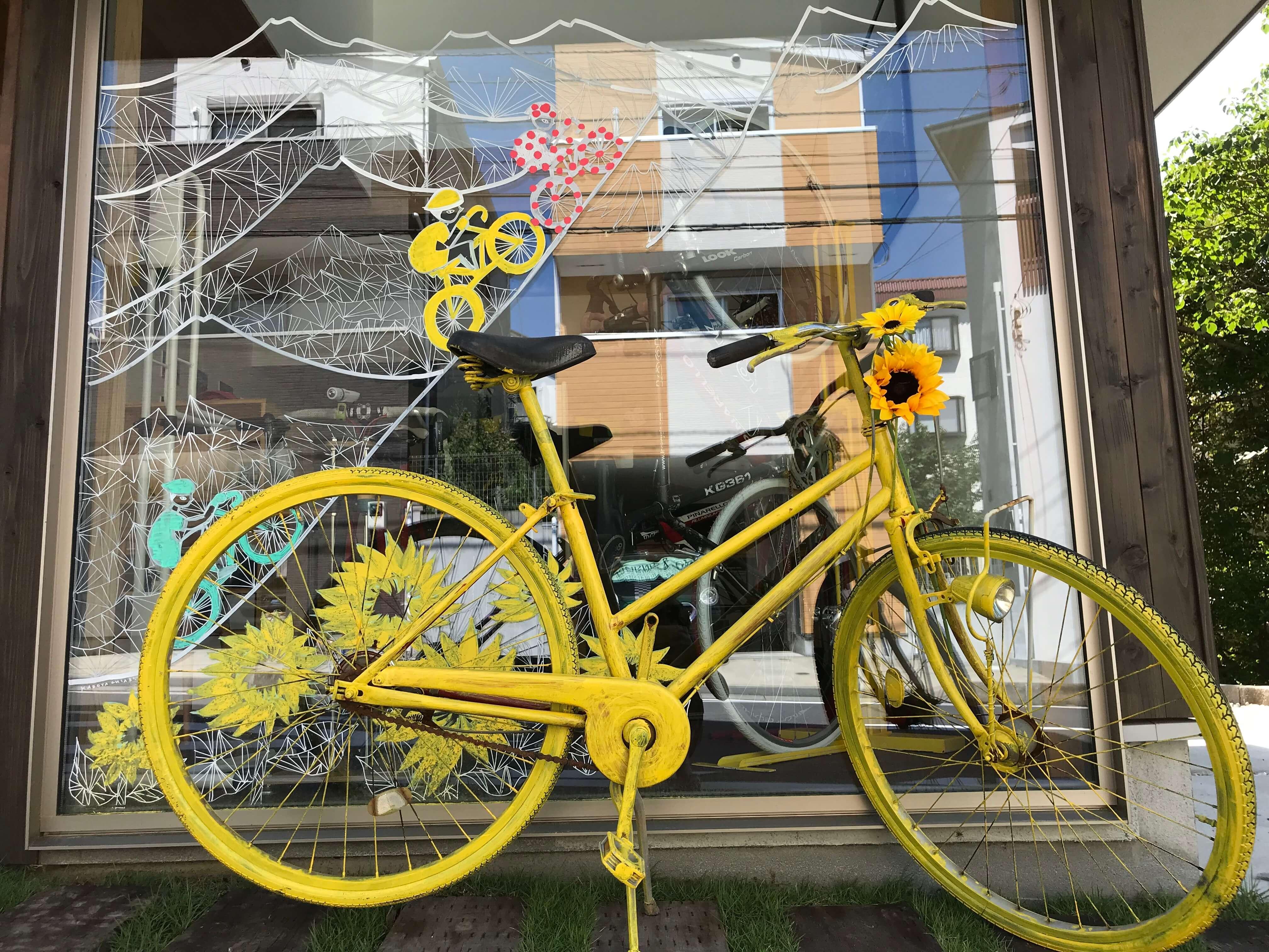 ツールデコレーション黄色い自転車